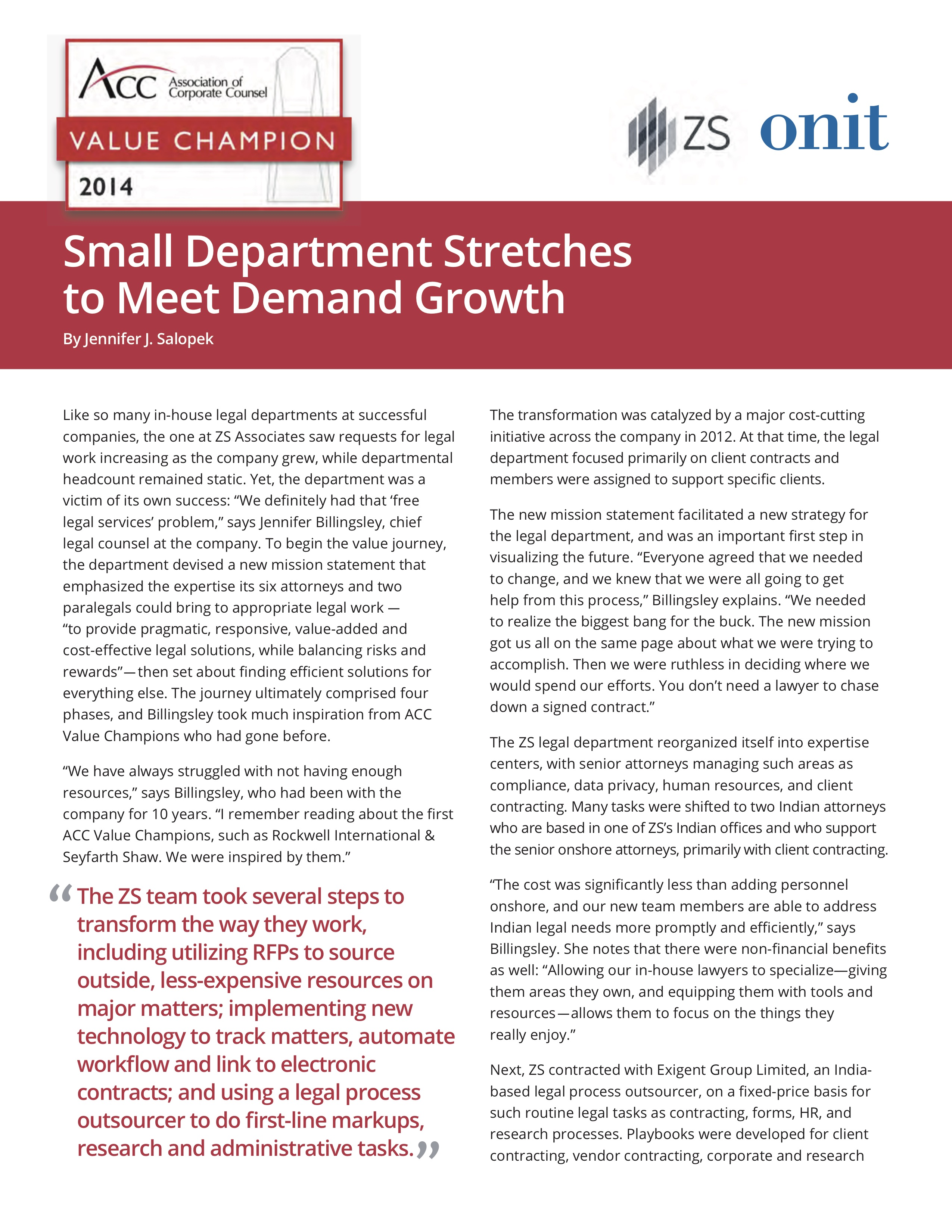 Small Department Stretches to Meet Demand Growth