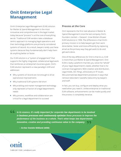 Onit Enterprise Legal Management Overview