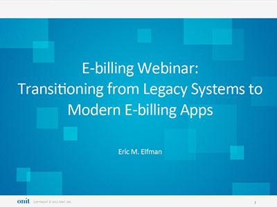 Onit E-billing Demonstration with Eric M. Elfman